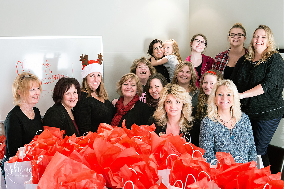 Happy group! 190 Believe Bags filled this year for single moms at Christmas