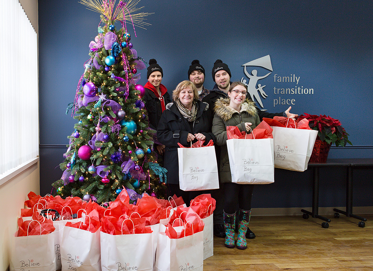 Believe Bags 2016 Christmas delivery to Family Transition Place