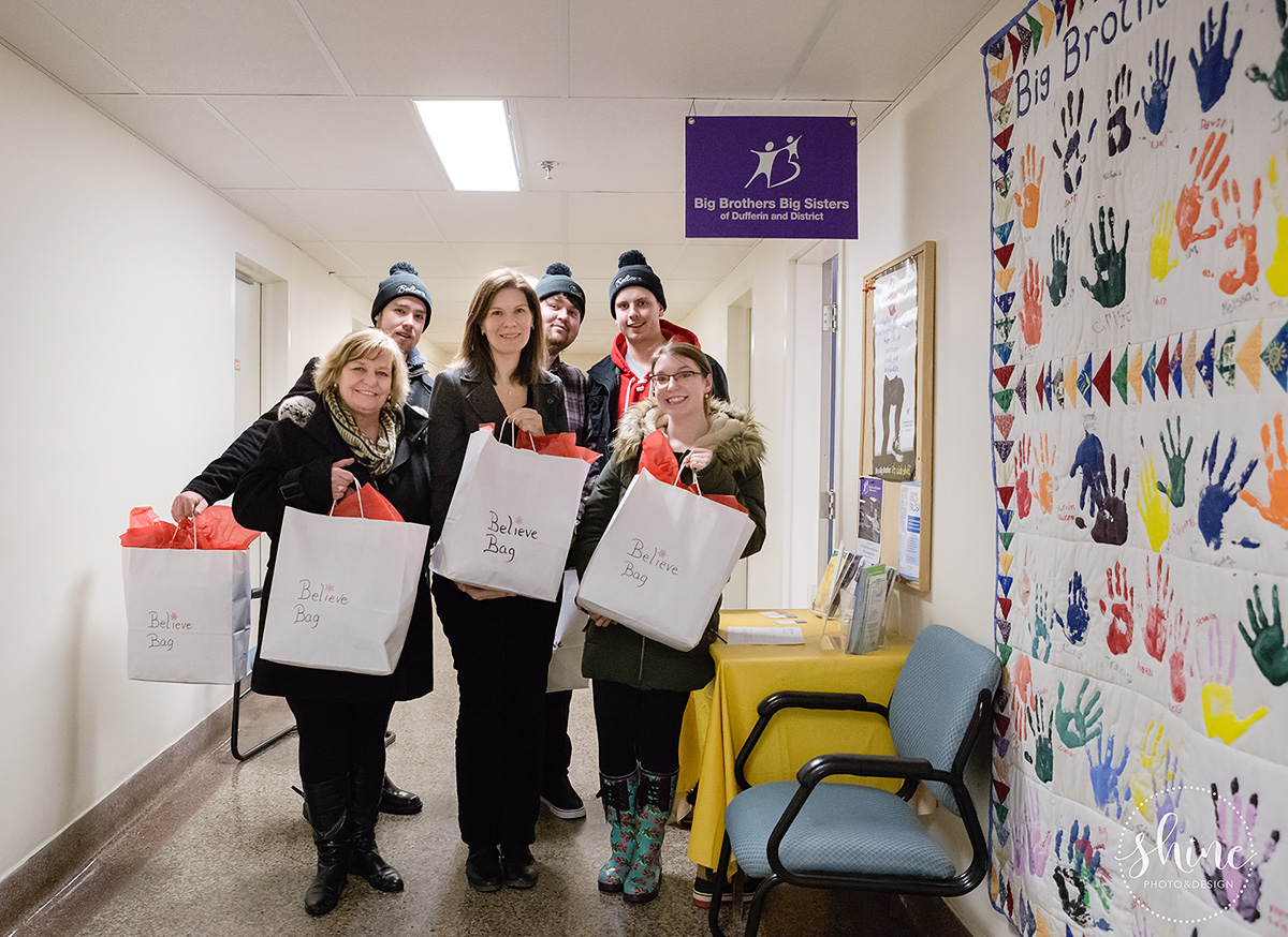 Believe Bags 2016 Christmas delivery to Big Brothers Big Sisters of Dufferin District